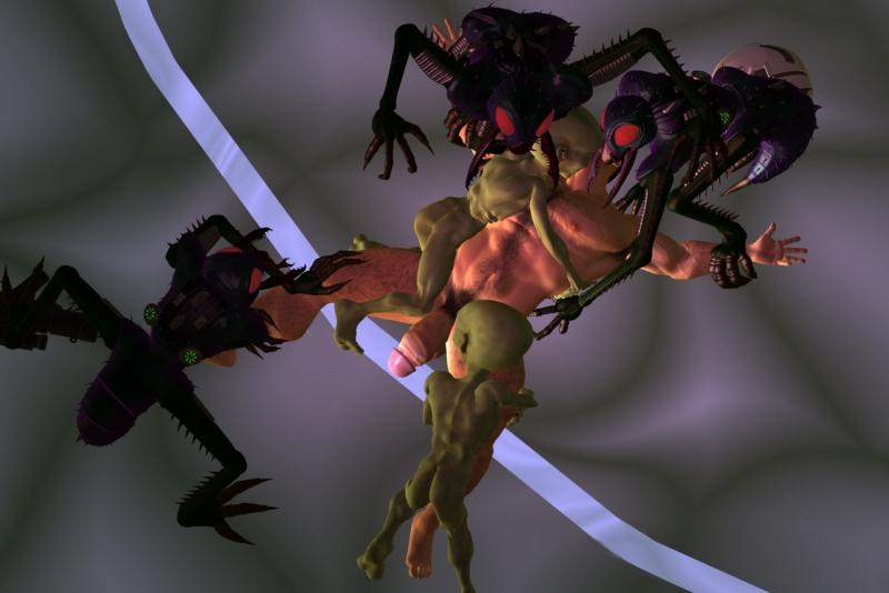 Aliens jump on Jeff.
