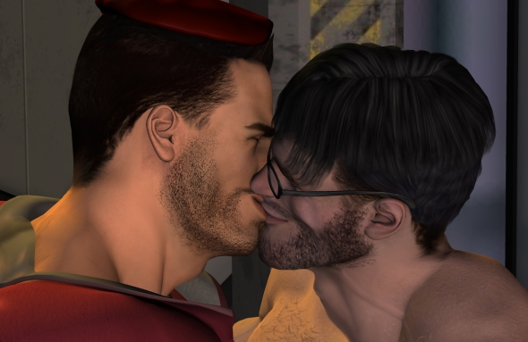 Jason and Jeff kiss each other before parting.