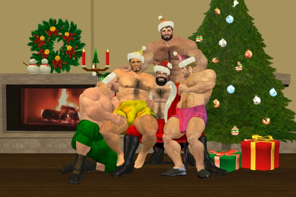 My Santa & His Helpers are Hairy Hunks (no text)
